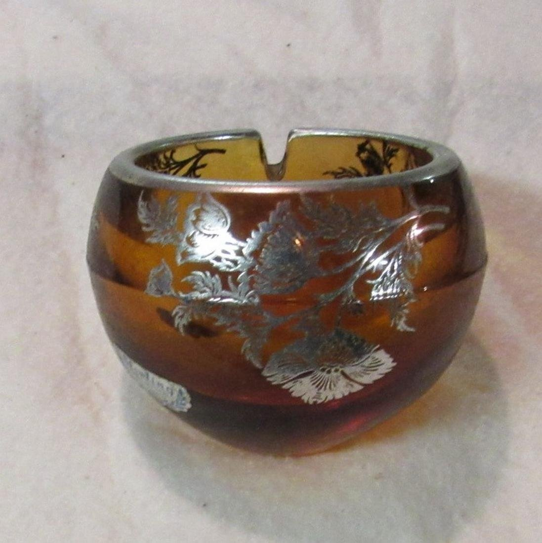 Sterling Silver on Crystal Ashtray - 2