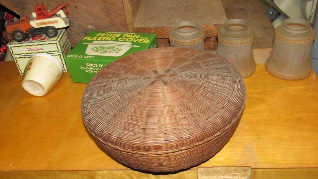 Shades Sewing Basket Corning Ware Lot