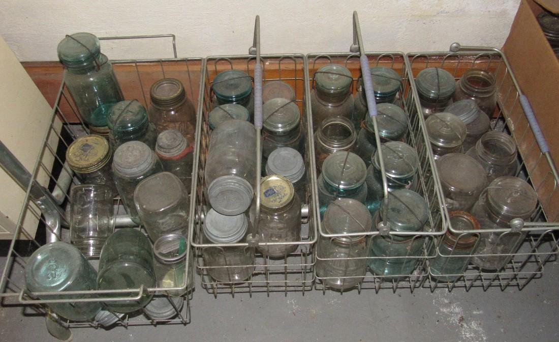Mason Fruit Jars  Metal Baskets Bottle Lot