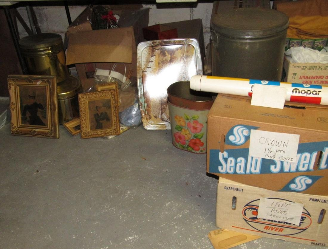 Tin Cans Plastic Storage Containers Frames Lot