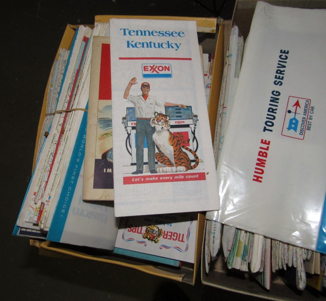 2 Shoe Boxes Full Of Road Maps - 2