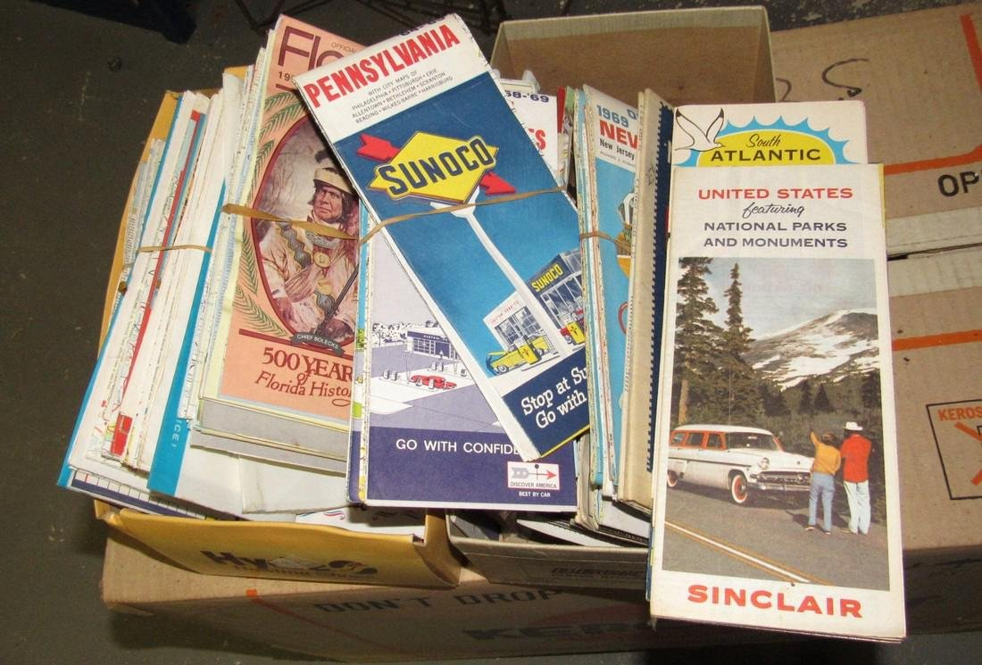 2 Shoe Boxes Full Of Road Maps - 3