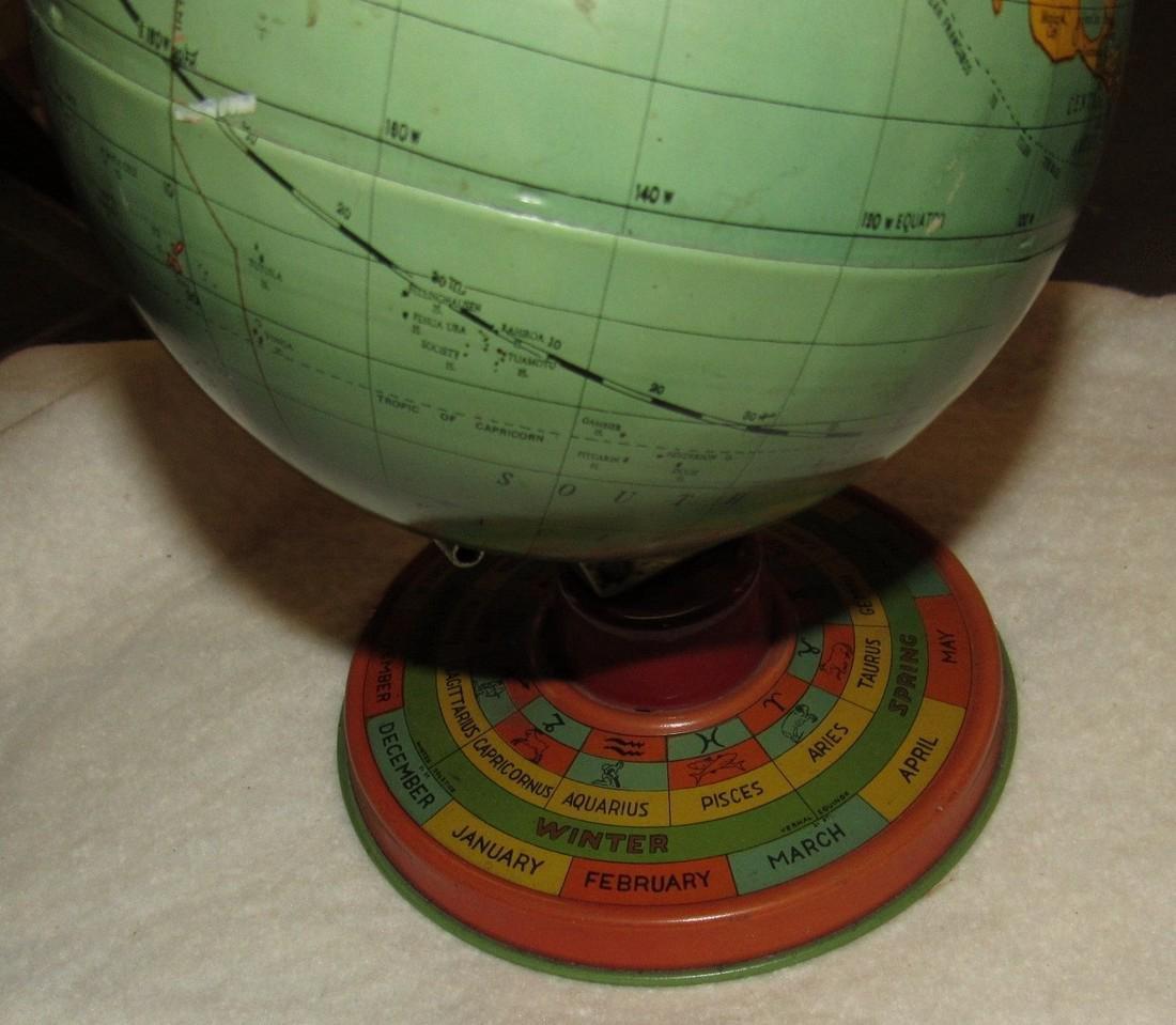 Vintage Tin Terrestrial Globe - 2