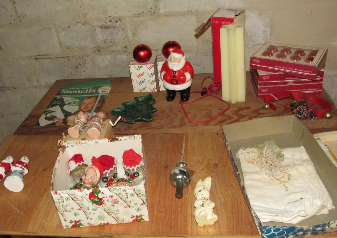 Christmas Lot Light Up Santa Ornaments