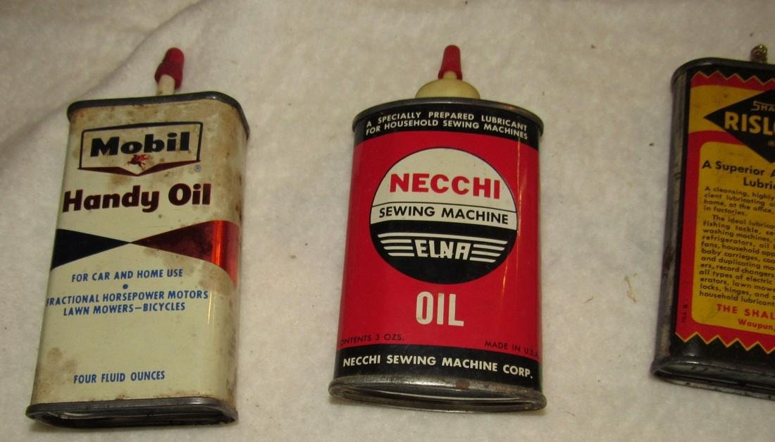 Mobil Oil Singer Necchi Sewing Machine Cans - 2