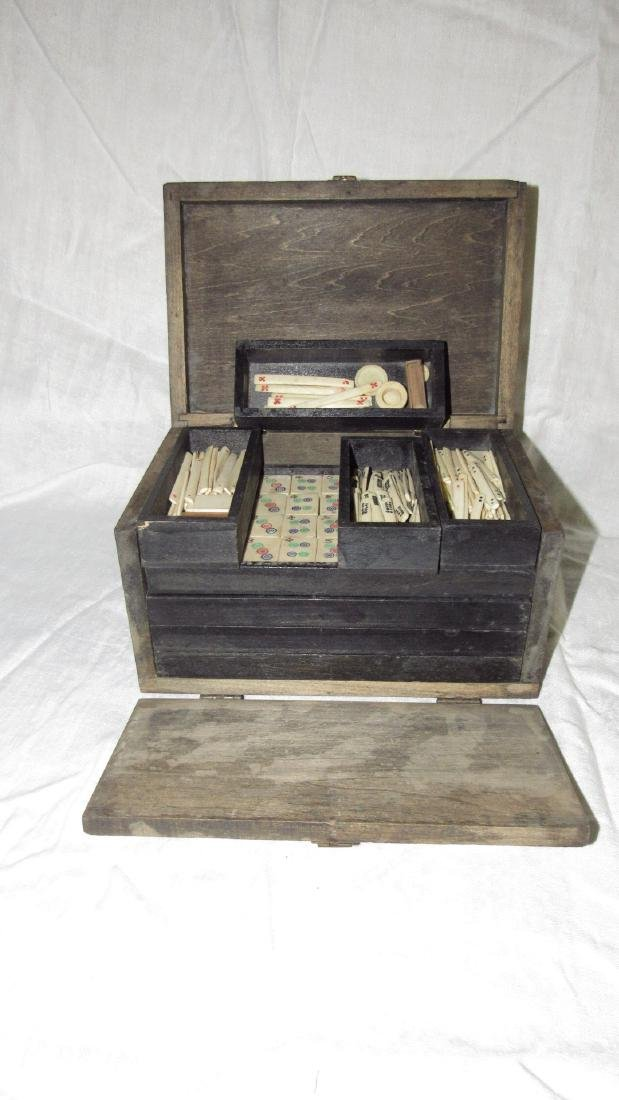Antique Mah Jong Set w box 144 Tiles