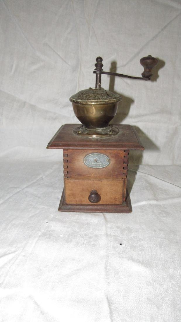 Antique Coffee Grinder w/ Brass Top