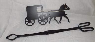 Amish Horse  Buggy Wall Hanging  Log Holder