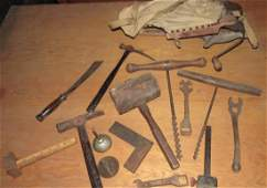 Antique Tools Hammers Knife Wrenches Augers