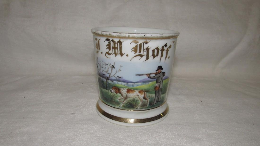 JM Hoff Bird Hunting Scene Shaving Mug - 2