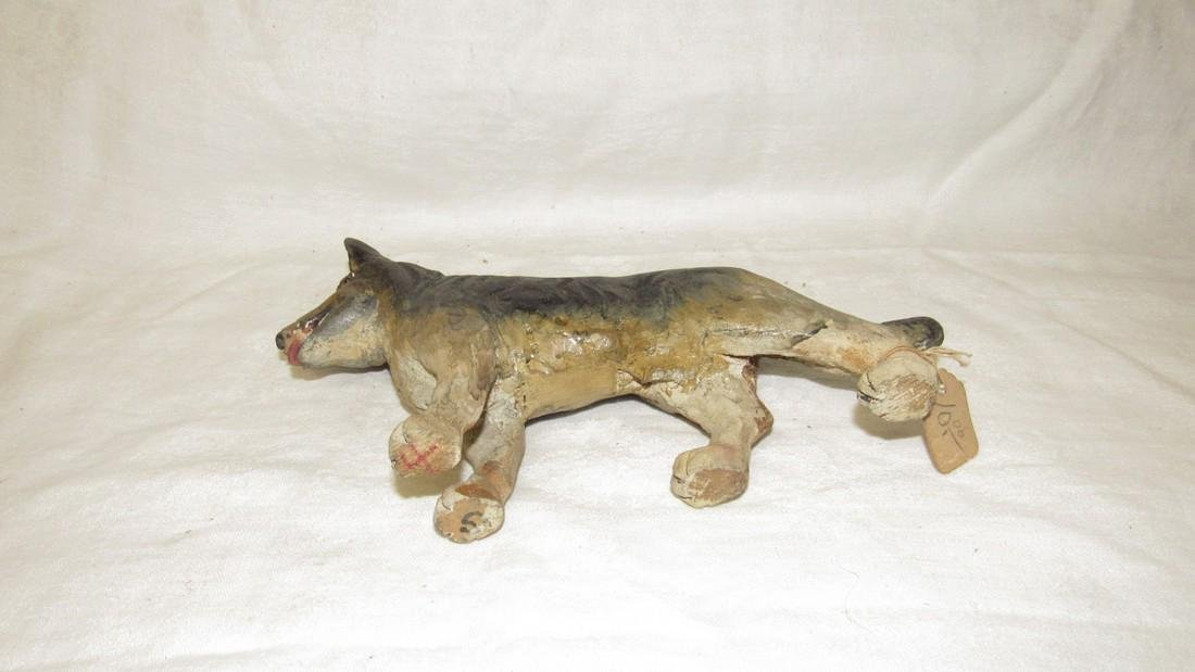 Carved Wooden German Shephard Dog - 4