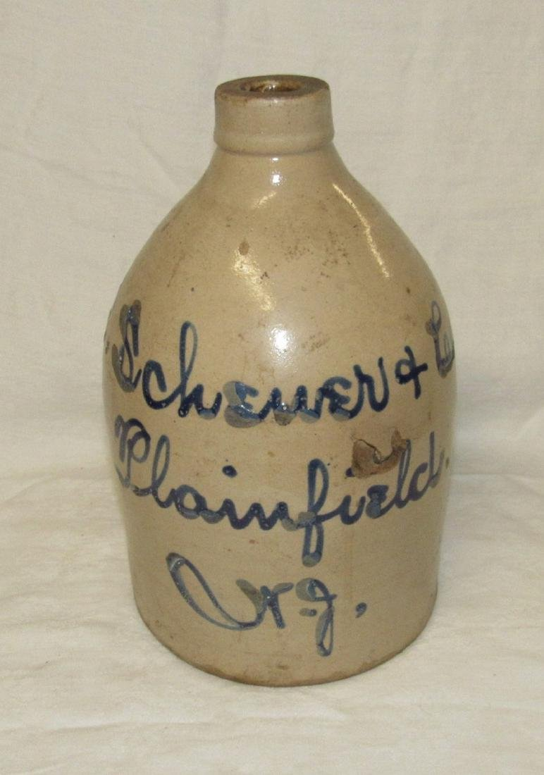 Schewer Plainfield NJ Blue Script Decorated Jug