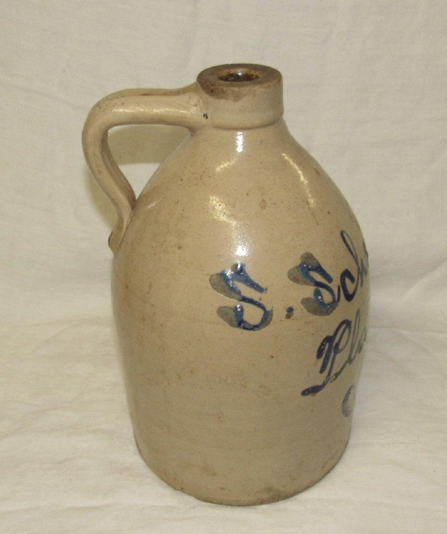Schewer Plainfield NJ Blue Script Decorated Jug - 2