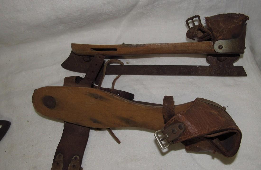 3 Pair Antique Wooden Ice Skates - 4
