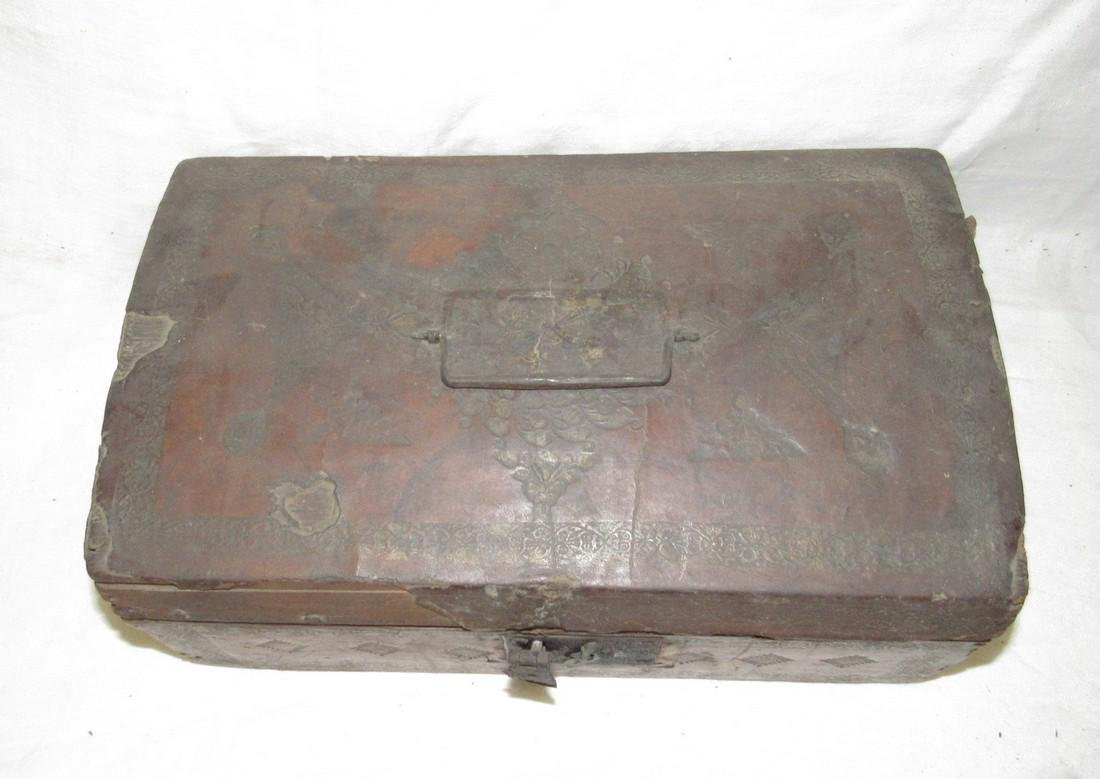 Tooled Leather Document Box - 2