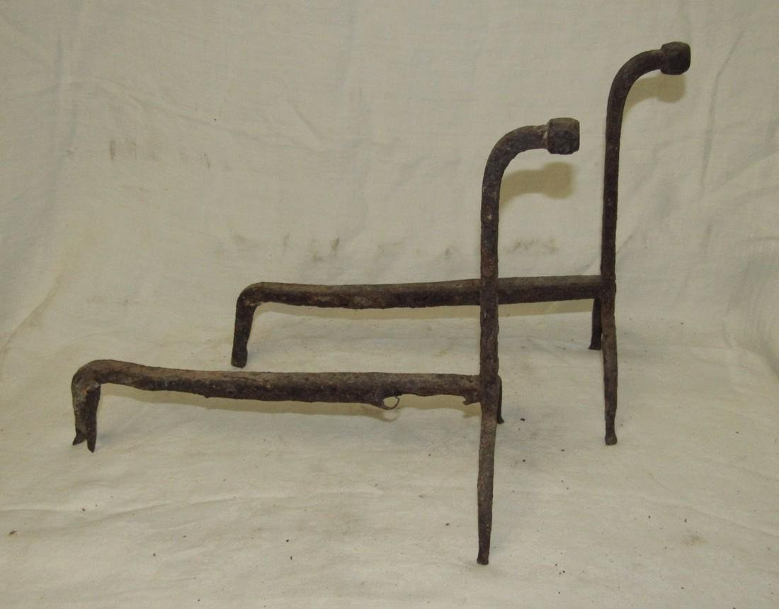 Antique Wrought Iron Andirons - 2