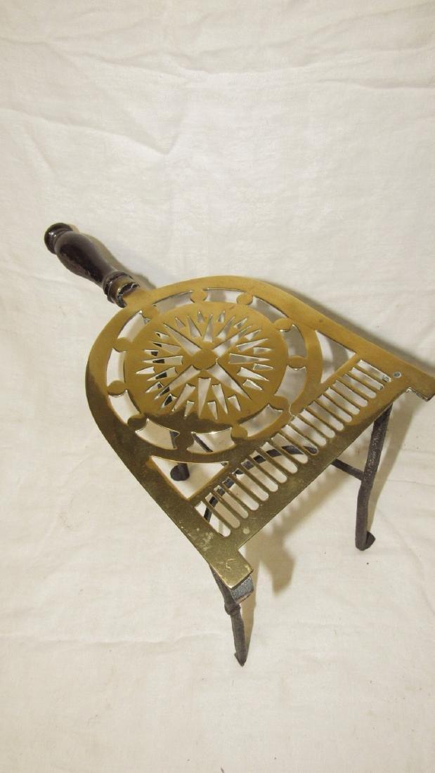 Antique Wrought Iron & Brass FirePlace Trivet - 2