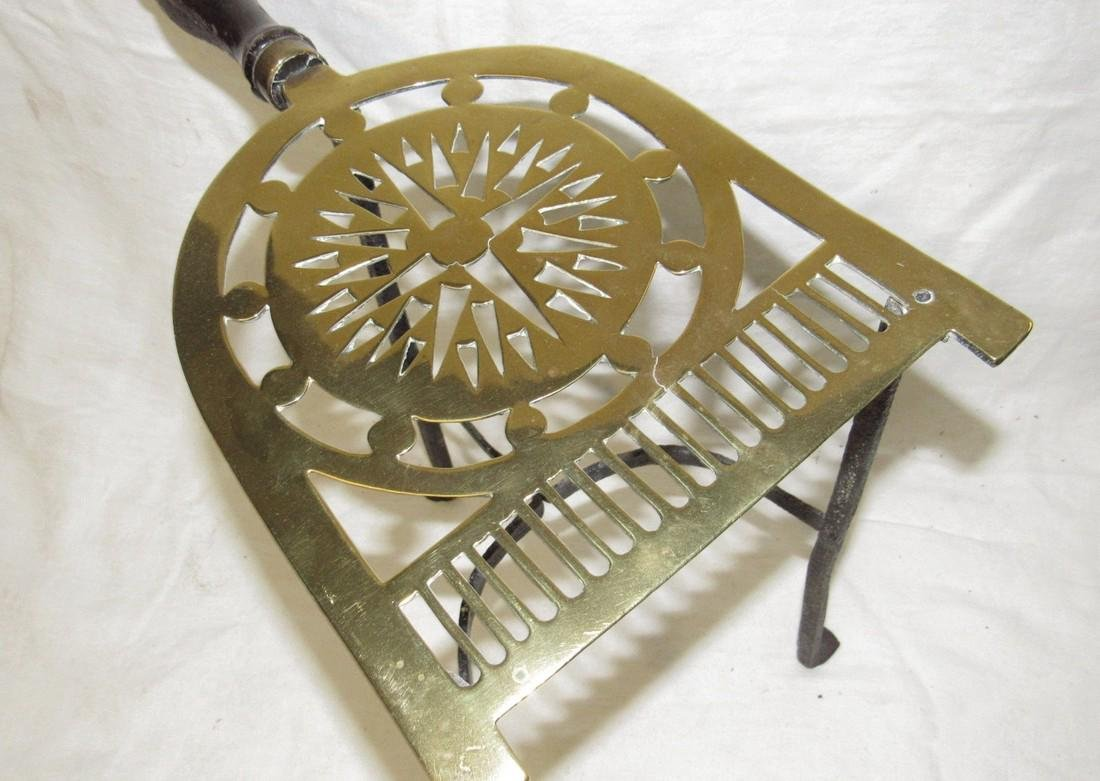Antique Wrought Iron & Brass FirePlace Trivet - 3