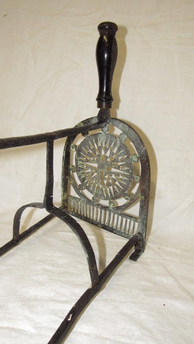Antique Wrought Iron & Brass FirePlace Trivet - 6