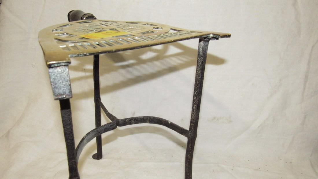 Antique Wrought Iron & Brass FirePlace Trivet - 7