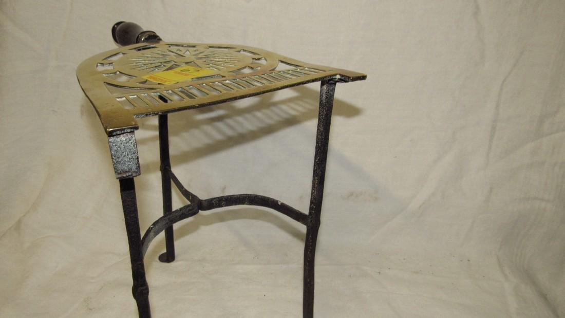 Antique Wrought Iron & Brass FirePlace Trivet - 8