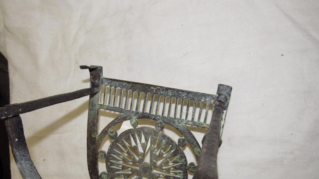 Antique Wrought Iron & Brass FirePlace Trivet - 9