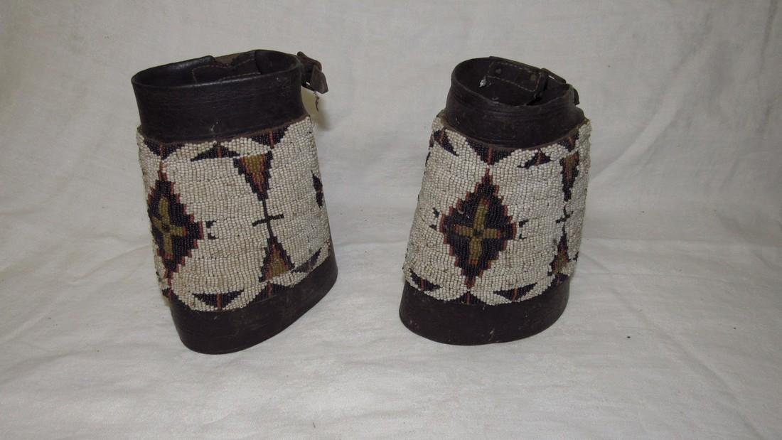 Leather Beaded  Indian Cuffs