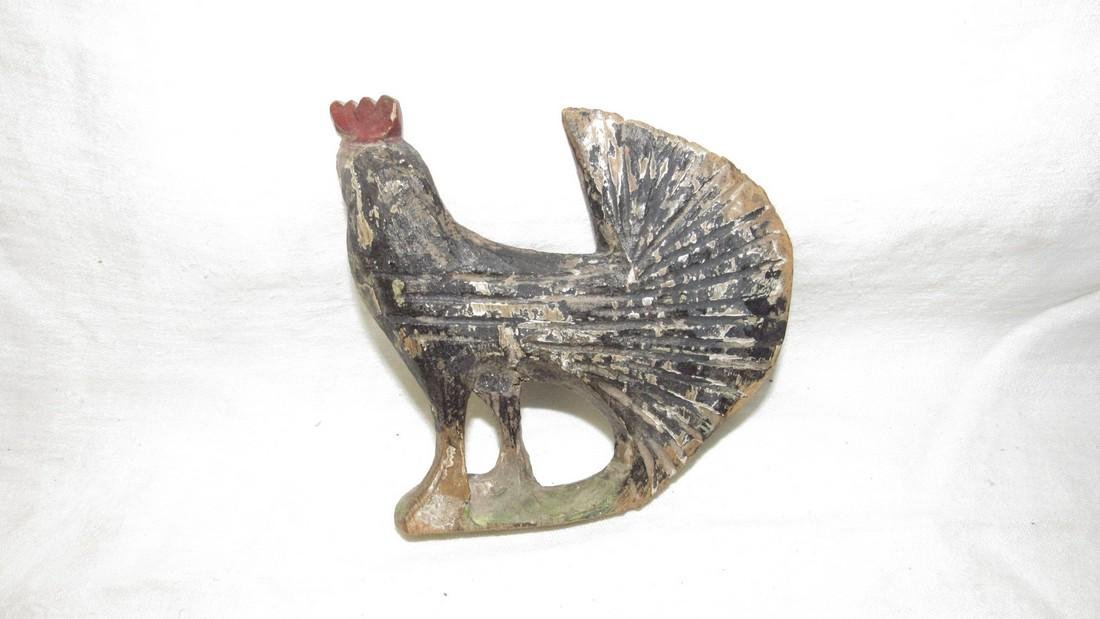 Shimmel ? Wooden Carved Fantail Rooster - 3