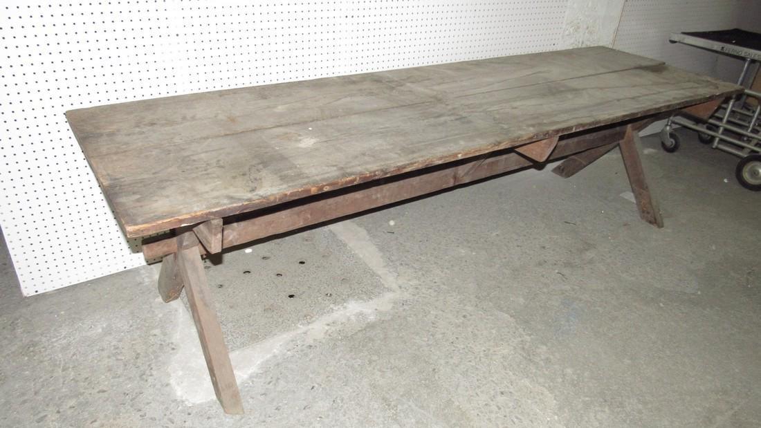 Early Sawbuck Table w/ 2 Board Top - 2