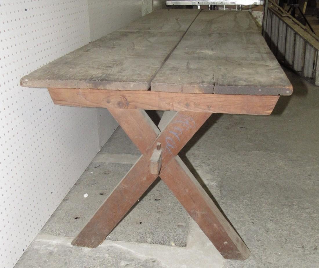 Early Sawbuck Table w/ 2 Board Top - 3