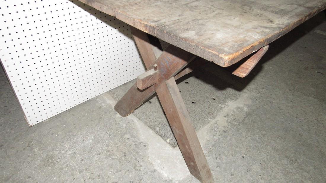 Early Sawbuck Table w/ 2 Board Top - 4