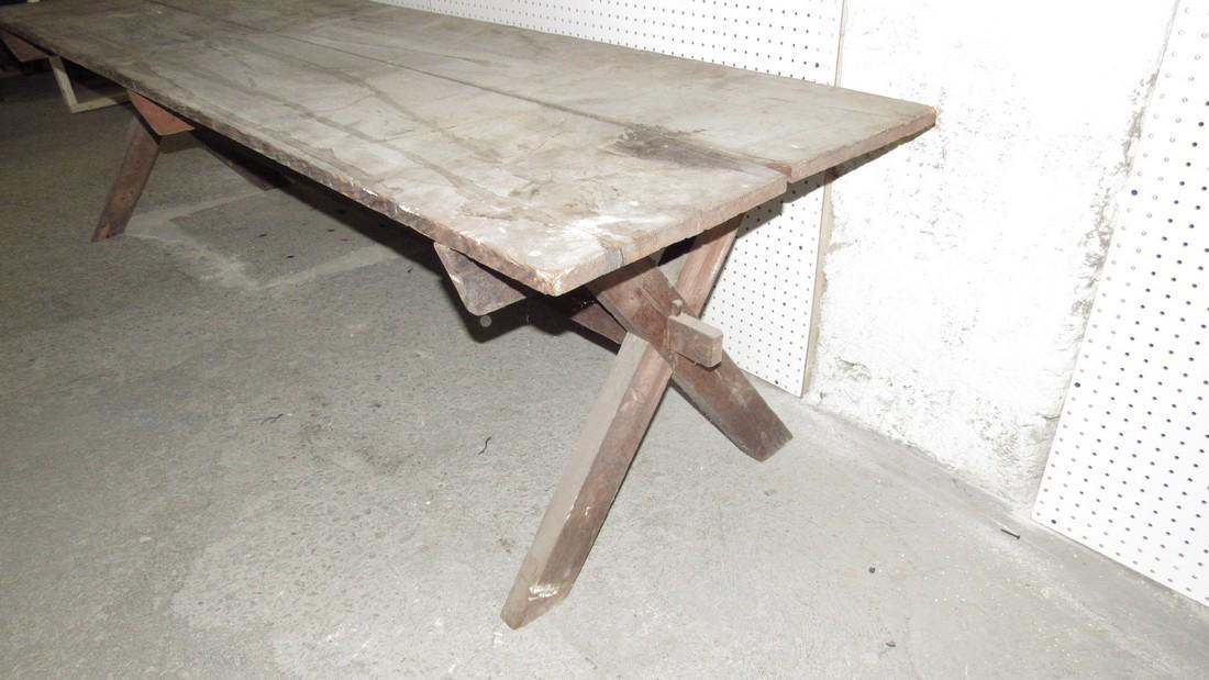 Early Sawbuck Table w/ 2 Board Top - 5