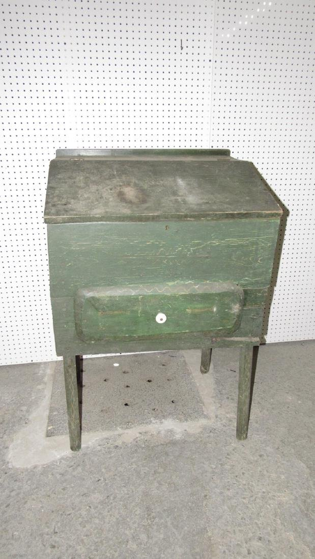 Primitive Green Painted One Drawer Desk