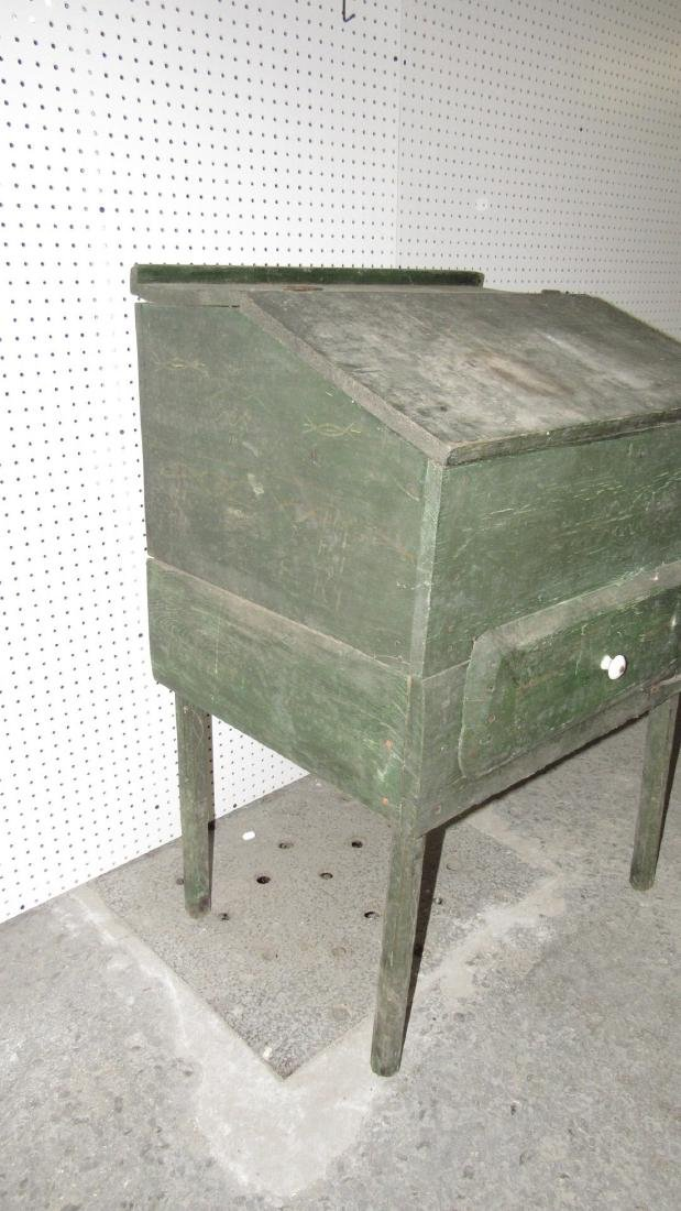 Primitive Green Painted One Drawer Desk - 2