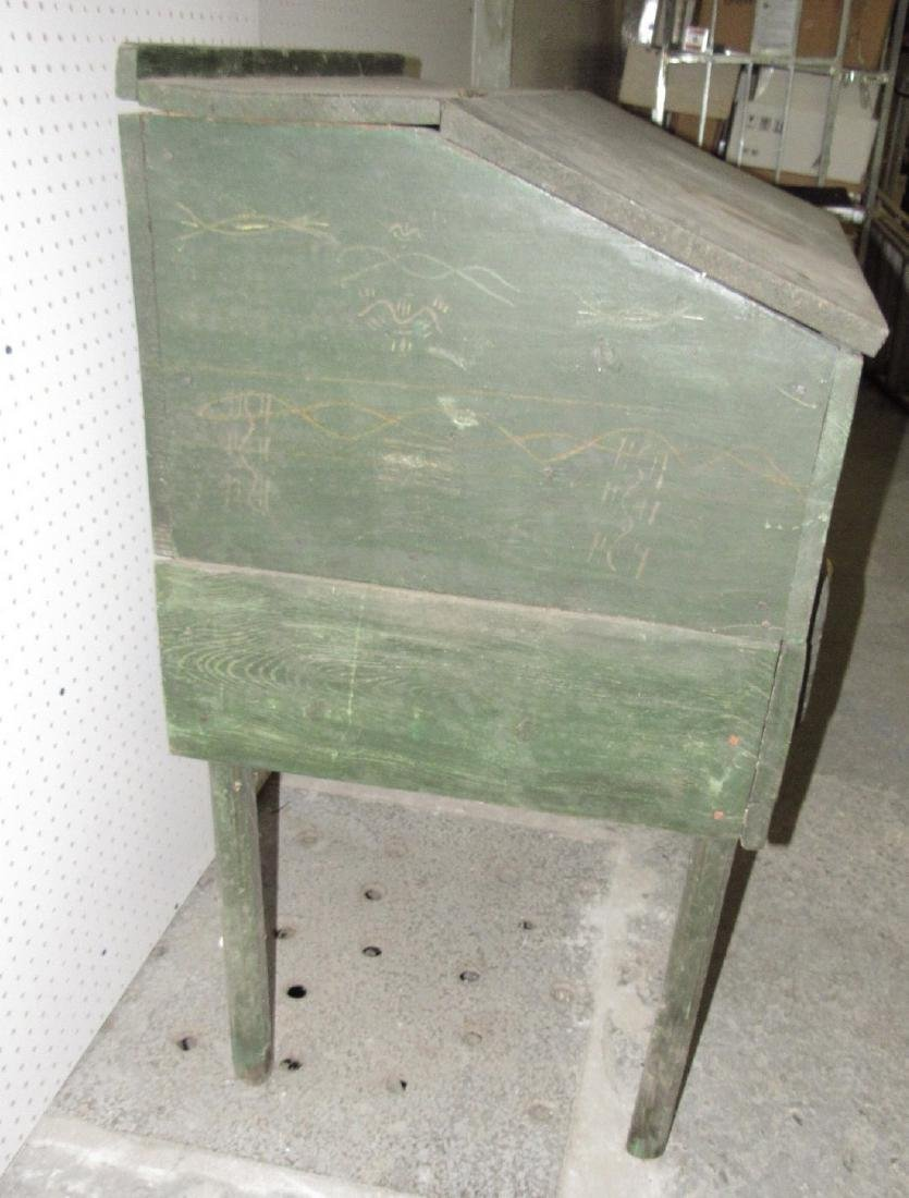 Primitive Green Painted One Drawer Desk - 3