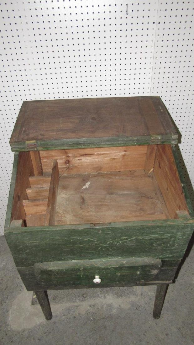 Primitive Green Painted One Drawer Desk - 4