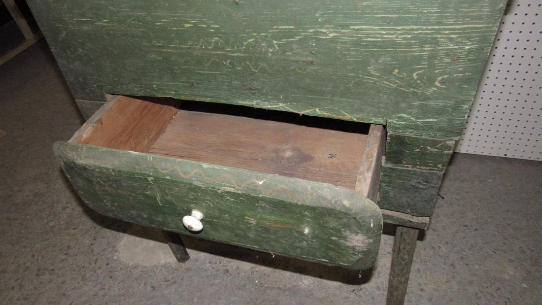 Primitive Green Painted One Drawer Desk - 5