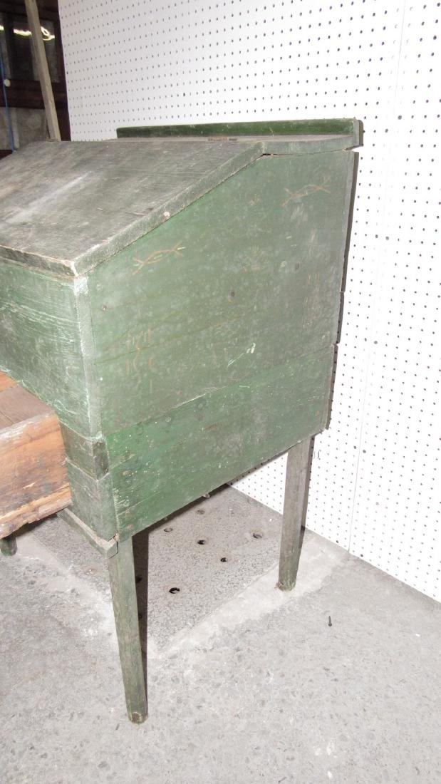 Primitive Green Painted One Drawer Desk - 6