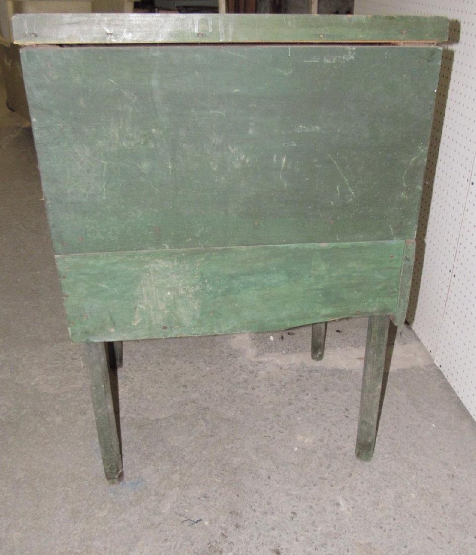 Primitive Green Painted One Drawer Desk - 7