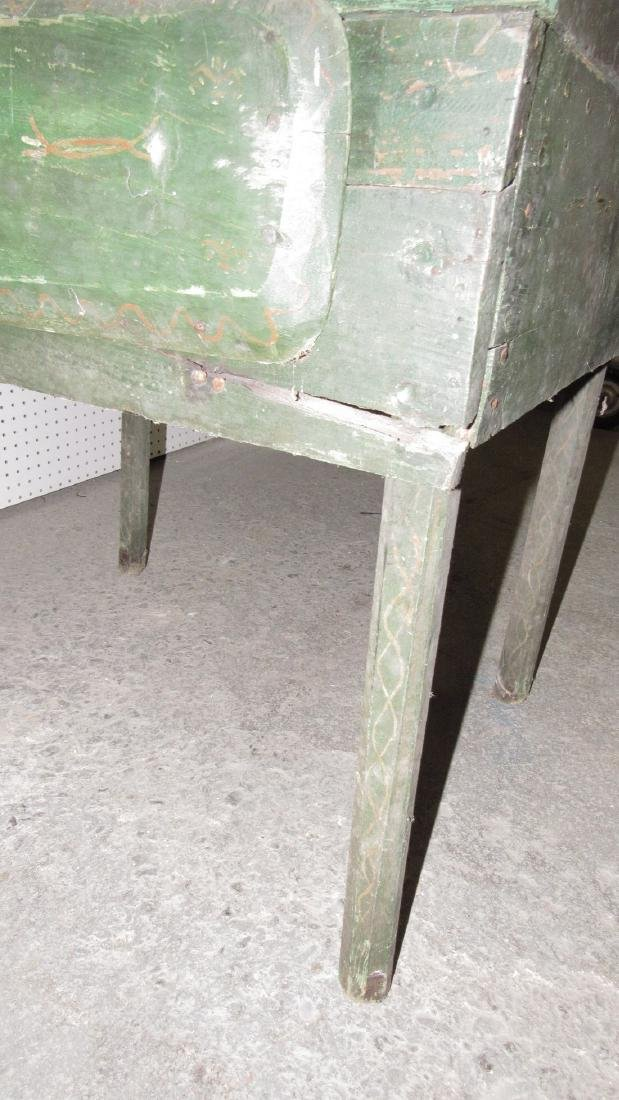 Primitive Green Painted One Drawer Desk - 8