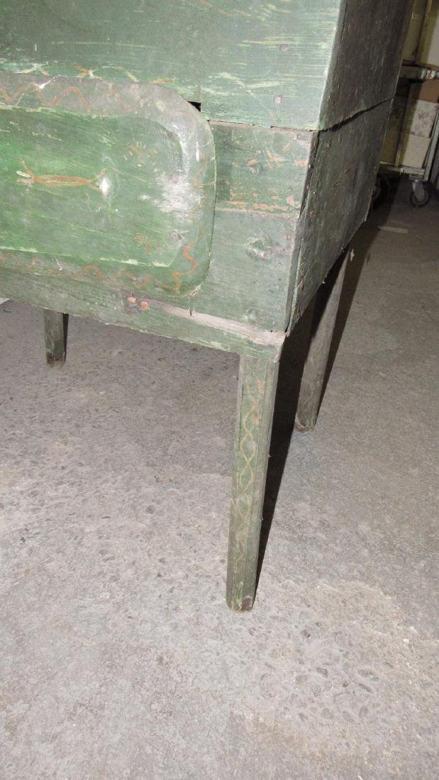 Primitive Green Painted One Drawer Desk - 9