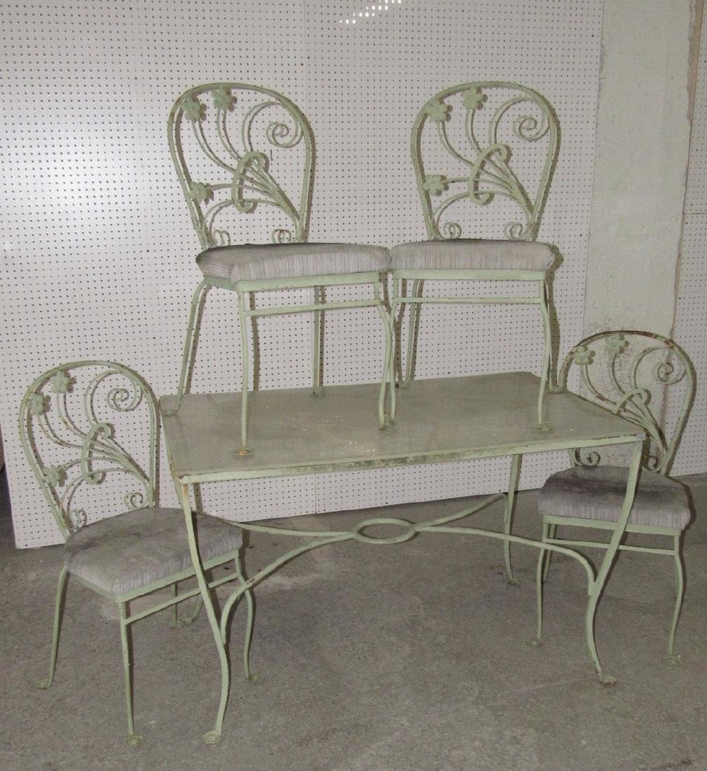 Green Painted Metal Patio Table w/ 4 Chairs