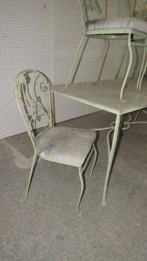 Green Painted Metal Patio Table w/ 4 Chairs - 3