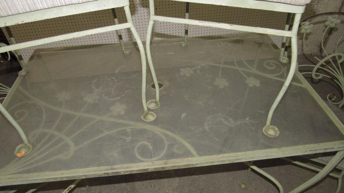 Green Painted Metal Patio Table w/ 4 Chairs - 5