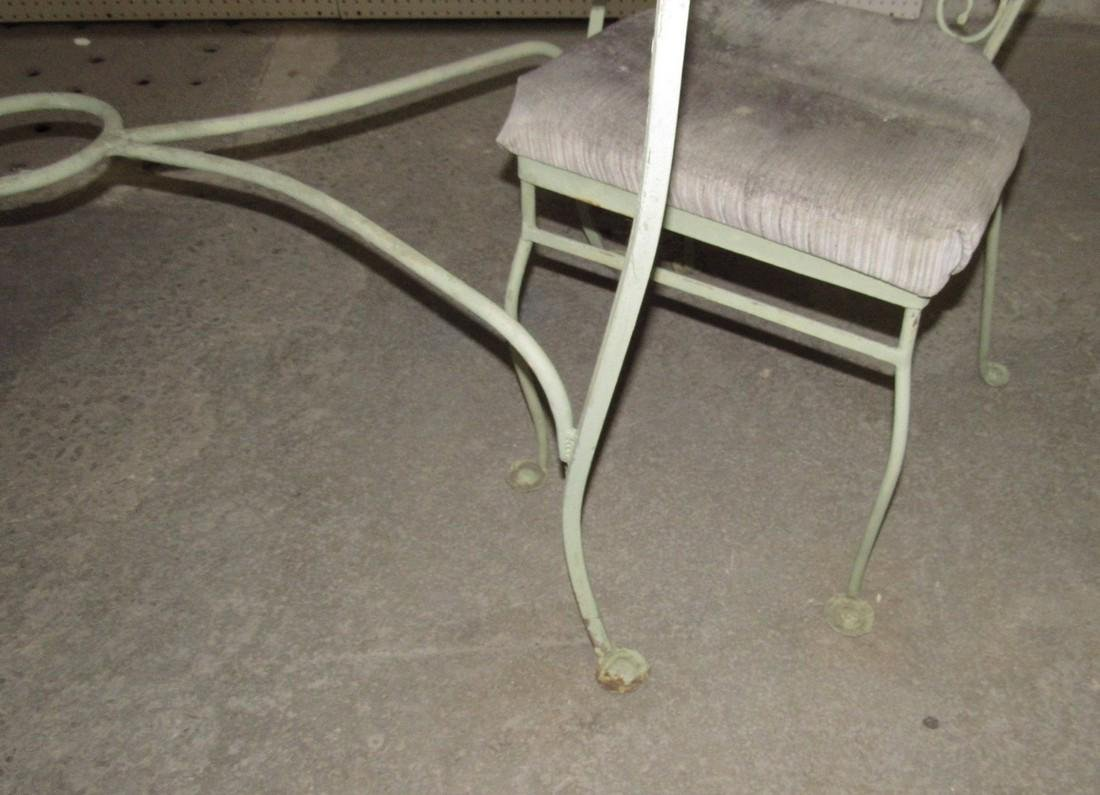 Green Painted Metal Patio Table w/ 4 Chairs - 6