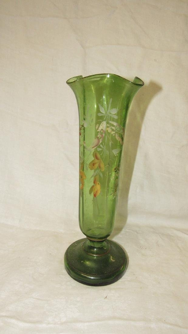 Early Paint Decorated Glass Vase