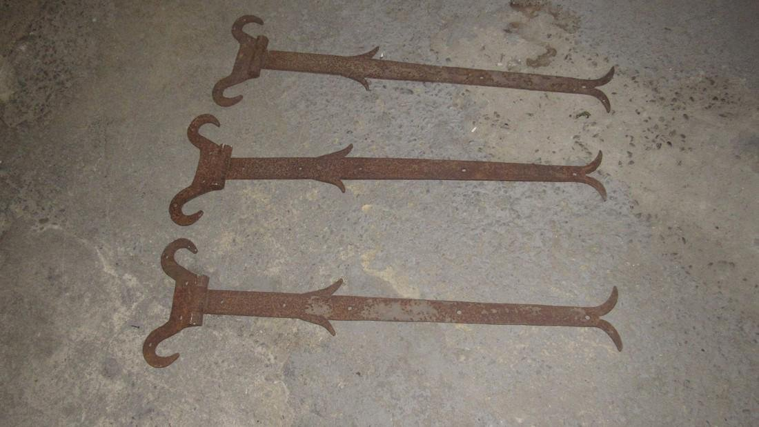 3 Huge Antique PA Wrought Iron Barn Hinges