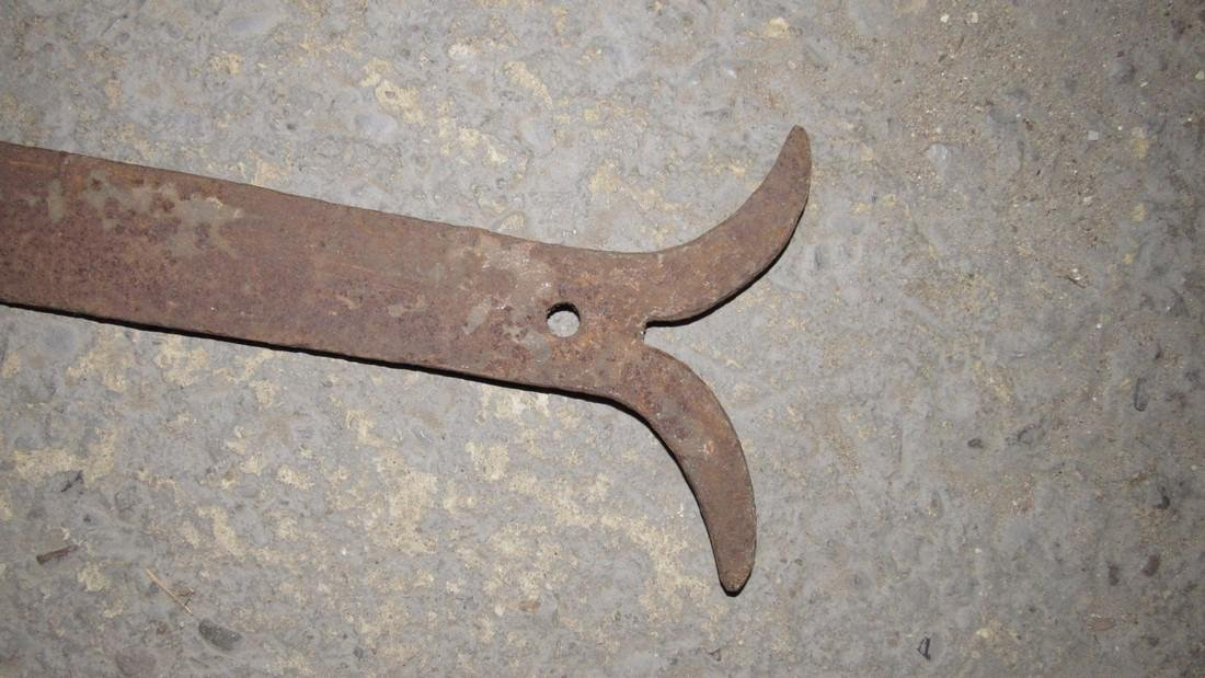 3 Huge Antique PA Wrought Iron Barn Hinges - 2