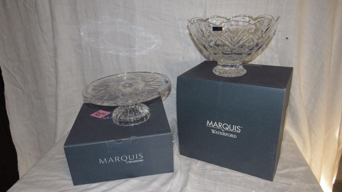 Marquis Waterford Crystal Cake Plate & Bowl