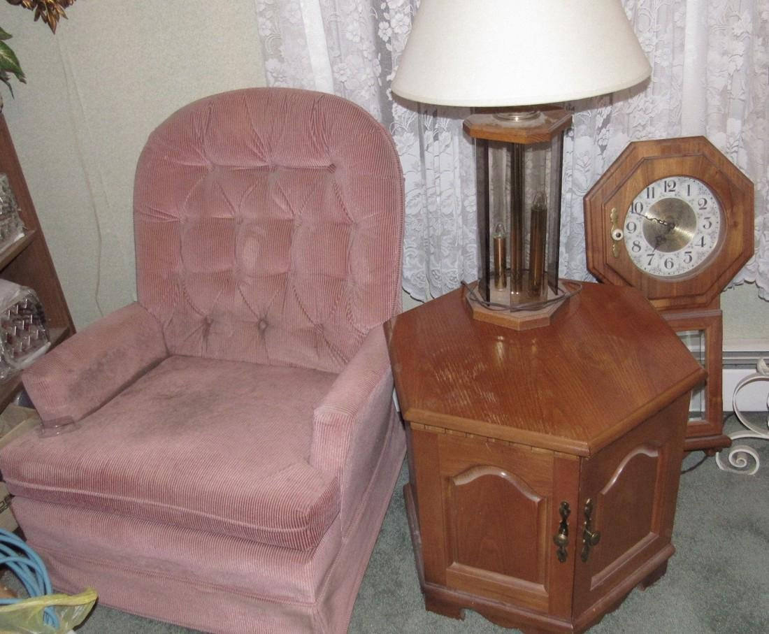 Clock Recliner Lamp and End Table